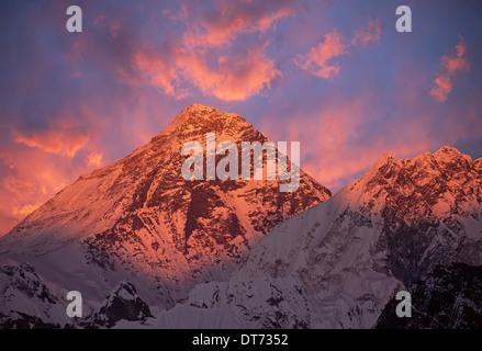 Mount Everest (8848 m) at sunset. Canon 5D Mk II. - Stock Photo