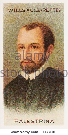 Wills Cigarette card second series Musical Celebrities, the composer Giovanni Pierluigi da Palestrina. EDITORIAL - Stock Photo
