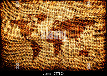 Old world map on hesian sack, natural jute canvas texture. - Stock Photo