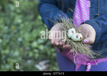 A girl holding out cupped hands, with a small bunch of twigs and two bird's eggs. - Stock Photo