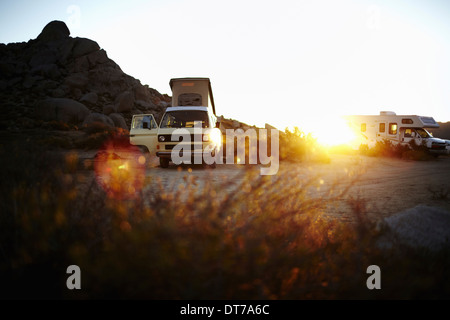 A camper van a classic design and an iconic travelling vehicle in Yosemite national park at sunset California USA - Stock Photo