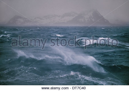 Stormy seas off the northern tip of South Georgia Island in the Falkland Islands South Georgia Island Falkland Islands - Stock Photo