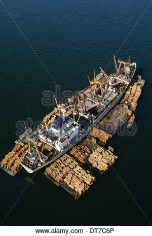 Rainforest lumber loaded on freighter an aerial view of the timber on rafts and on board in Sandakan Borneo Sandakan - Stock Photo