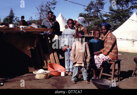 family in displaced camp in Eldoret, Rift Valley, Kenya - Stock Photo