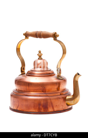 Old nostalgic tea kettle made of copper with wooden handle isolated on white background - Stock Photo