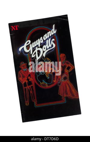 Programme for 1982 National Theatre production of Guys and Dolls by Frank Loesser based on stories by Damon Runyon. - Stock Photo