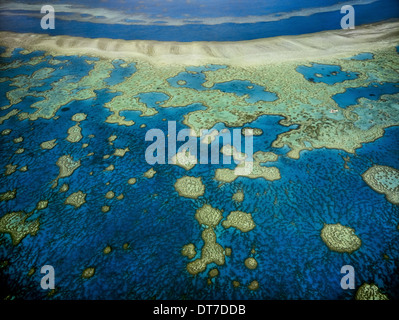 An aerial view of the islands of the Great Barrier Reef in Queensland Australia Great Barrier Reef Queensland Australia - Stock Photo