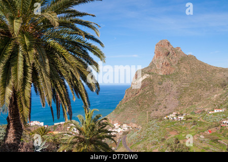 View over coast from Taganana village in The Anaga mountains in the north of Tenerife, Canary Islands - Stock Photo