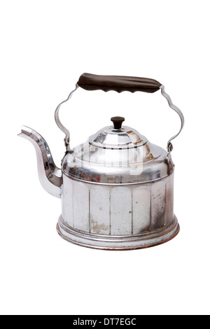 Old silver color vintage tea kettle with handle and lid isolated on white background - Stock Photo