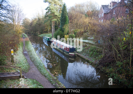 Narrow boats on the Caldon Canal (or more properly, the Caldon Branch of the Trent & Mersey Canal), Cheddleton Staffs - Stock Photo