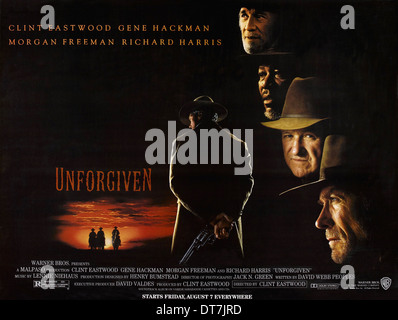 MORGAN FREEMAN GENE HACKMAN & CLINT EASTWOOD POSTER UNFORGIVEN (1992) - Stock Photo