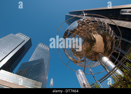 The Globe and Trump Tower at Columbus Circle in Manhattan New York City, USA - Stock Photo