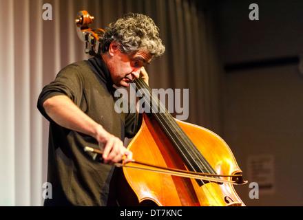 Renaud Garcia-Fons plays upright bass. - Stock Photo