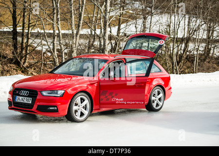 SAALBACH, AUSTRIA - JANUARY 19, 2014: The Audi Driving Experience is training drivers in winter conditions on January - Stock Photo