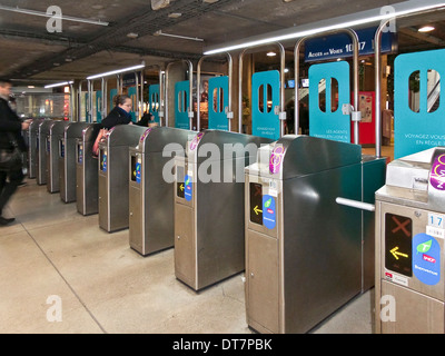 Métro gates at Paris Montparnasse station - France - Stock Photo