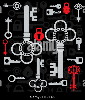 Silhouettes set of keys and locks on a black - Stock Photo