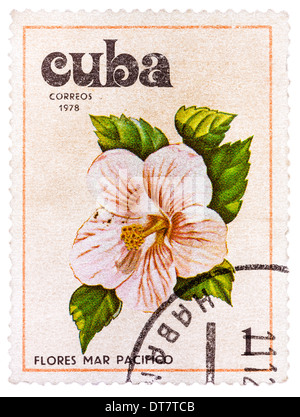 CUBA - CIRCA 1978: a stamp printed in Cuba shows image Tues flowers pacifist, series, circa 1978 - Stock Photo
