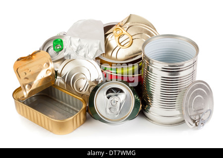 Empty metal cans waiting to be recycling - Stock Photo