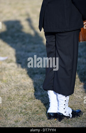 Washington DC, USA . 11th Feb, 2014.A member of honour guard is seen during a welcome ceremony held by U.S. President - Stock Photo