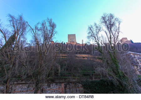 View of La Alhambra, from el Paseo de los Tristes in Granada, Andalucia, Spain - Stock Photo