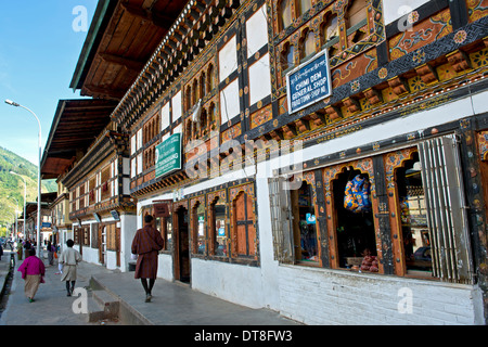 Main streets with shops in the centre of Paro, Bhutan - Stock Photo