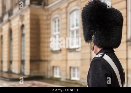 Close-up of a life guard at Amalienborg Royal Palace, Copenhagen, Denmark - Stock Photo