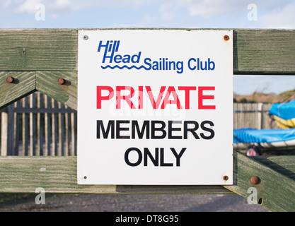 Sign Hill Head sailing club Private members only Titchfield Haven southern England UK - Stock Photo
