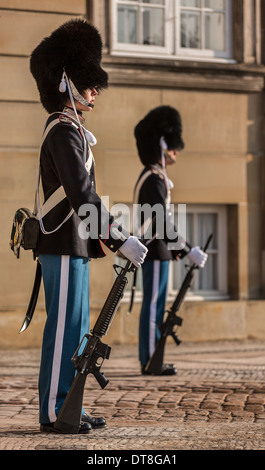 Life guards at Amalienborg Royal Palace, Copenhagen, Denmark - Stock Photo
