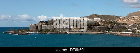 A panoramic view of the timeshare complex Anfi del Mar, in the south of Gran Canaria. - Stock Photo
