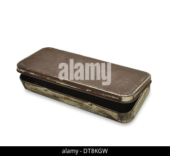 old used pencil case made out of tin - Stock Photo