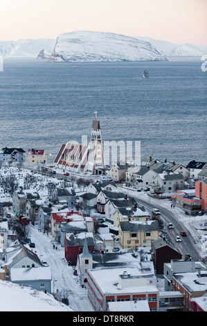 The port of Hammerfest, Norway, the northernmost town in the world - Stock Photo