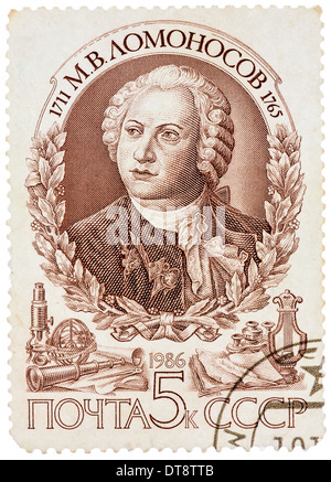stamp printed in Russia (Soviet Union) commemorates Mikhail Lomonosov, a Russian Scientist who discovered  atmosphere - Stock Photo