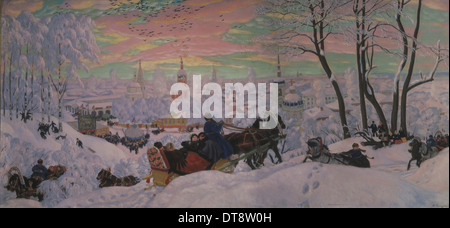 Shrovetide, 1916. Artist: Kustodiev, Boris Michaylovich (1878-1927) - Stock Photo