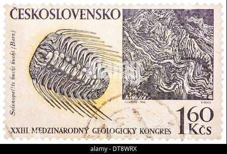 stamp printed in Czech (Czechoslovakia) shows trilobite and barrande rock formation, 23 international geological - Stock Photo