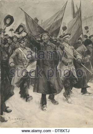 Patriotic Demonstration of the Russian troops and workers in 1904, 1904. Artist: Michael, Arthur C. (active 1903 - Stock Photo