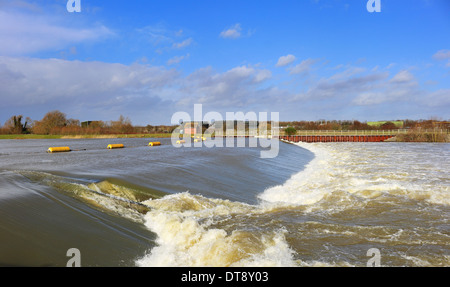 Weir and Barrier on the Jubilee Flood relief River in England - Stock Photo