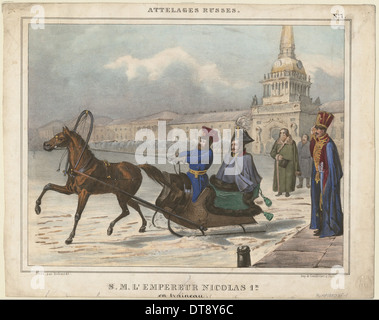 Nicholas I of Russia in a sleigh, 1850. Artist: Anonymous - Stock Photo