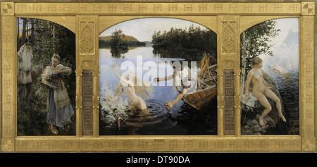 The Aino Triptych, 1891. Artist: Gallen-Kallela, Akseli (1865-1931) - Stock Photo