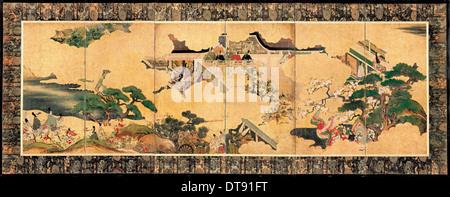 Scenes from The tale of Genji (Genji monogatari), 17th century. Artist: Anonymous - Stock Photo
