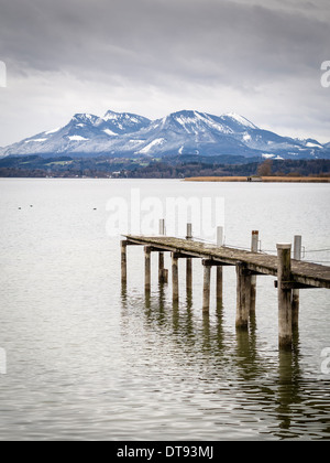 Image of jetty at lake Chiemsee in Bavaria, Germany - Stock Photo