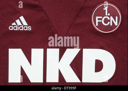 Close up of the FC Nürnberg football team kit - Stock Photo