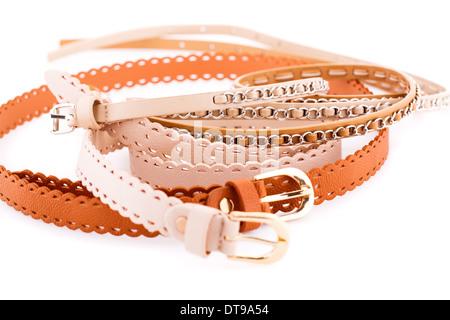 Stylish belts isolated on white background. - Stock Photo