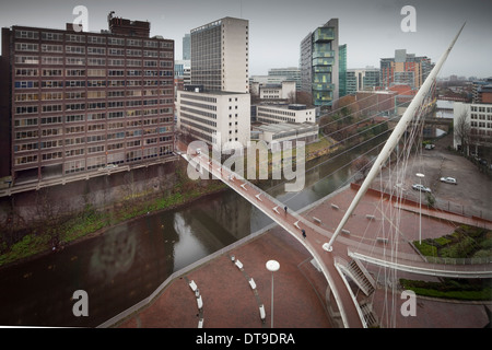 Trinity bridge taken from the Lowry hotel in Salford as it bridges the River Irwell over to Manchester city centre - Stock Photo