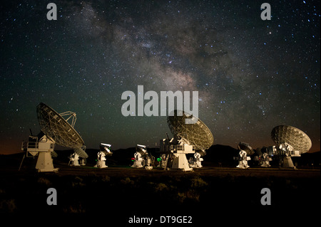 The Milky Way galaxy moves over CARMA Array Radio Observatory in the White Mountains of California. - Stock Photo