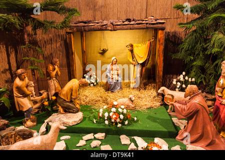 Traditional nativity scene with the Holy Family, shepherds and Magi, Strahov Monastery, Prague, Czech Republic - Stock Photo