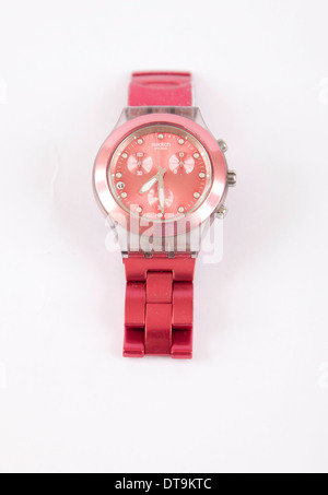Swatch Full Blooded Raspberry Red SVCK4050AG Unisex Wrist Watch - Stock Photo