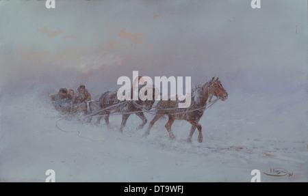 Snowstorm, 1901. Artist: Karasin, Nikolai Nikolayevich (1842-1908) - Stock Photo