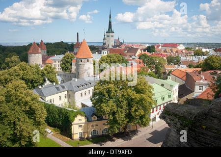 A view of Tallinn, Estonia from Toompea Hill (Upper Town). - Stock Photo