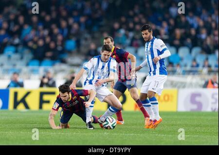 Feb. 12, 2014 - 12/02/14, San Sebastian, Zaldua (c) during spanish Copa del Rey soccer semifinal match between Real - Stock Photo