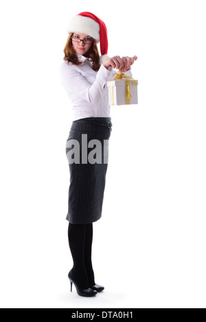 Office santa girl with present isolated on white - Stock Photo